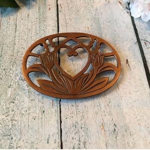 Other - 3/$25 Copper trivet metal placemat heart flower